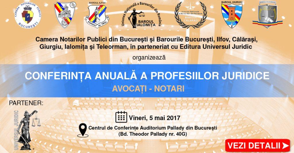 Banner conferinta anuala a profesiilor juridice