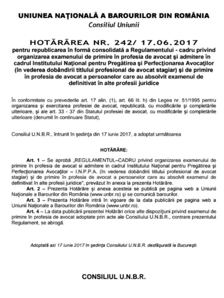 regulament examen baroul Ilfov 2017